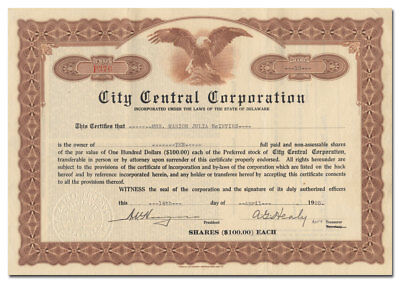 City Central Corporation Stock Certificate (Harvey Building, Boston)