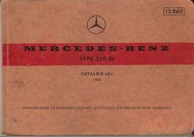 Mercedes Benz 220 Sb Saloon 1963 Original Multilingual Spare Parts List
