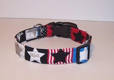Wet Nose Designs Patriotic Stars Dog Collar Silver Metallic Red Blue Black  Blue Stars Dog Collars