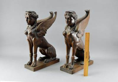 Superb Pair Of 19th C Carved Wooden Sphinx Excellent Detail No Res
