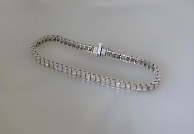 PLATINUM AND DIAMOND TENNIS BRACELET RARE EMERALD CUT 6.50 TCW (Platinum Emerald Cut Diamond Bracelet)
