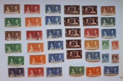 BRITISH COMMONWEALTH 1937 GVI Coronation stamps - 2 photos.