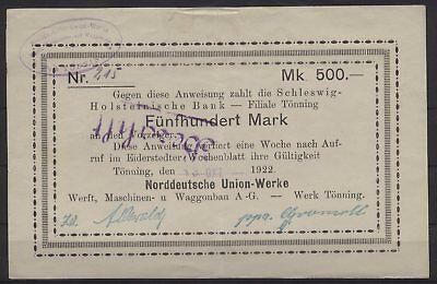 [21809] - NOTGELD TÖNNING, Norddeutsche Union-Werke, Werft, Maschinen- u. Waggon