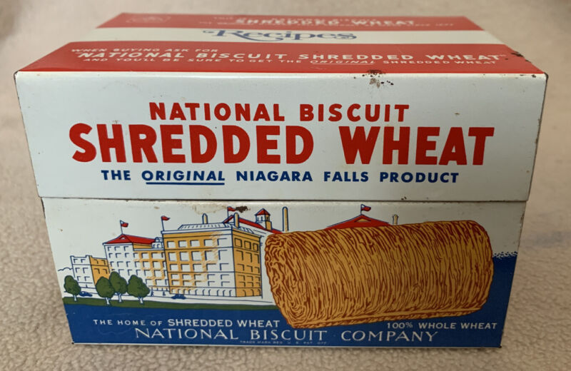 Vintage Recipe Box Tin 1973 National Biscuit Shredded Wheat NABISCO Cereal