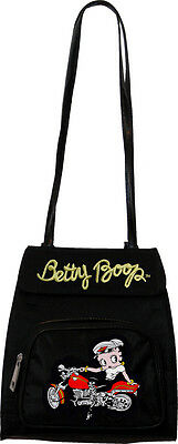 Betty Boop Convertible Zippered Backpack Shoulder Bag  Biker Betty Black BP-108A