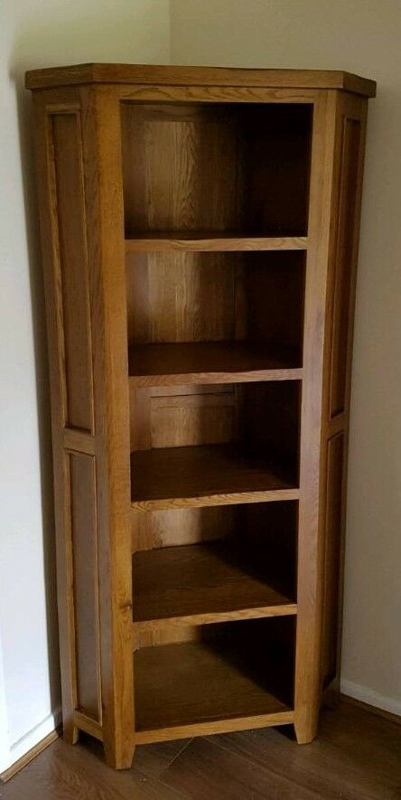 Solid Oak Corner Bookshelf