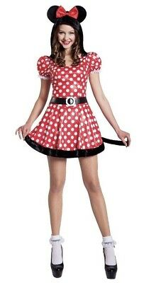 Minnie Mouse Costume Adult Womens Small Medium Hooded Dress w/ Ears & Belt New