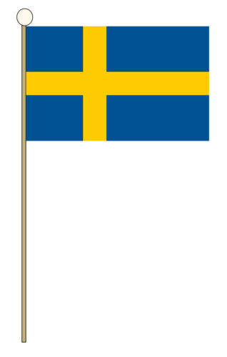 "SWEDEN HAND WAVING FLAG medium 9"" X 6"" wooden pole flags SWEDISH STOCKHOLM"