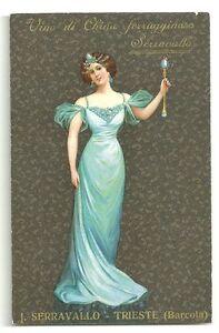 Serravallo-China-Vino-Wine-Woman-Blue-Dress-Costume-Trieste-Italia-Italy-ca-1910