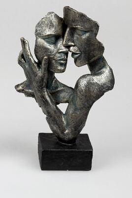 716033 Skulptur Büste Paar auf Sockel Anthrazit aus Kunststein 19x32cm