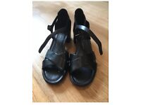ECCO black leather sandals size 37