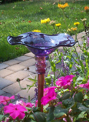 Blown Glass Butterfly Feeder - many colors - Glass Butterfly Feeder