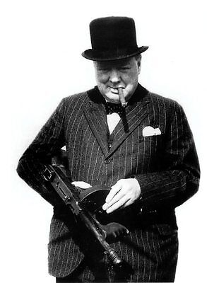Winston Churchill Prime Minister WWII With Tommy Gun 10x8 Photo
