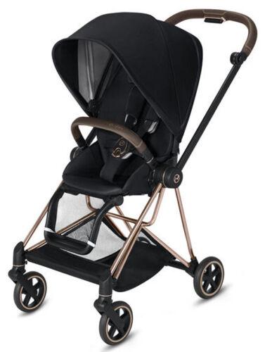 Cybex Mios Lightweight Compact Single Baby Stroller Rose Gold Frame Premium Blk