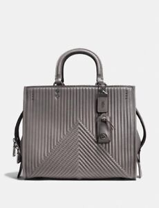 Coach 1941 Rogue With Quilting And Rivets Handbag Heather Grey