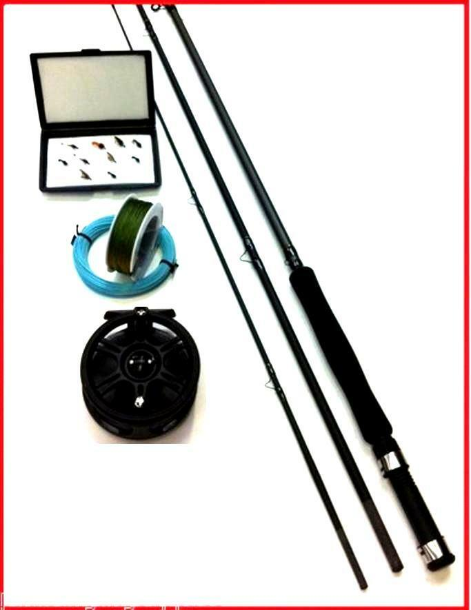 Fly fishing kit rod reel flies box floating line backing for Fly fishing kits