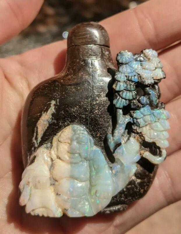 Incredible Carved Boulder Opal Buddha Snuff Bottle