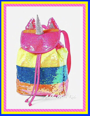 "NWT JUSTICE Girls Rainbow🌈🦄🌈 Unicorn ""MINI"" Rucksuck  Backpack FABULOUS!!!](Rainbow Backpack)"