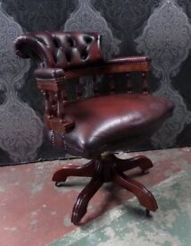 Stunning Chesterfield Captains Desk Chair in Oxblood Leather - UK Delivery