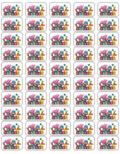 "50 Pocoyo Envelope Seals / Labels / Stickers, 1"" by 1.5"""