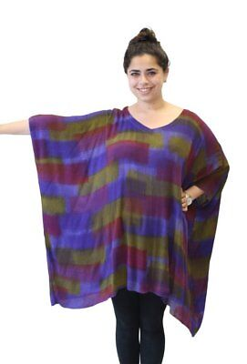 Modesce Hand Painted Tunic Poncho Caftan Top OVERSIZED Strata Purple
