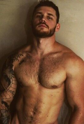 Shirtless Male Muscular Hunk Handsome Hairy Chest Beard Beefcake PHOTO 4X6 F1372
