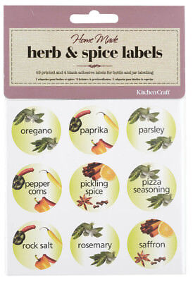 Kitchen Craft 3.5cm Round Self Adhesive Herb & Spice Jar Labels 45 per Pack