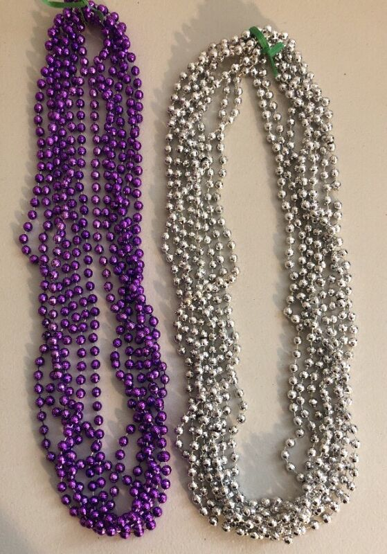 Silver And Purple Mardi Gras Bead Necklaces Lot of 14