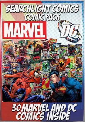1 box Lot of 30 comics Marvel & DC ONLY + Super Hero Pint Glass