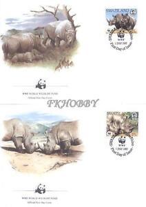 Swaziland 1987 Mi FDC 528-31 WWF Animals Pets Tiere Zwierzęta Nashorn Rhino - Dabrowa, Polska - Swaziland 1987 Mi FDC 528-31 WWF Animals Pets Tiere Zwierzęta Nashorn Rhino - Dabrowa, Polska