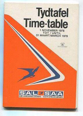 SOUTH AFRICAN AIRWAYS SAA TIMETABLE WINTER 1978/79 SAL