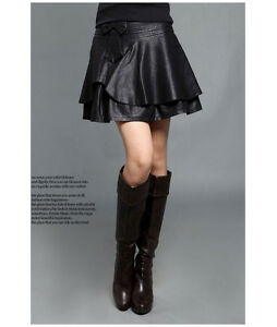 plus size high waist bow pleated faux leather slim skirt