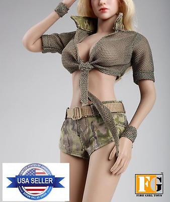 1 6 Scale Summer Outfits Jeans Shorts Set For 12  Phicen Hot Toys Female Figure