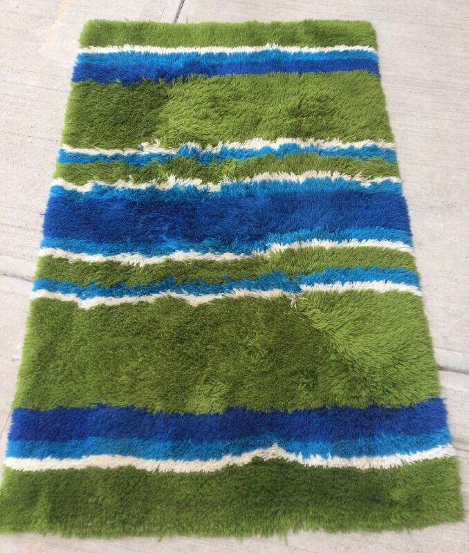 Mid Century Modern 60's Blue Green Shag Area Rug Carpet Regal Rugs 45 x 70