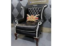 RARE WIDE Chesterfield Queen Anne Wing Back Chair in Black & White Leather - UK Delivery