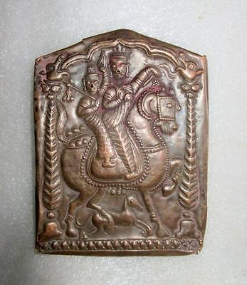 Antique Old Copper Hand Embossed South Indian Tribal Goddess Couple Figure Plate