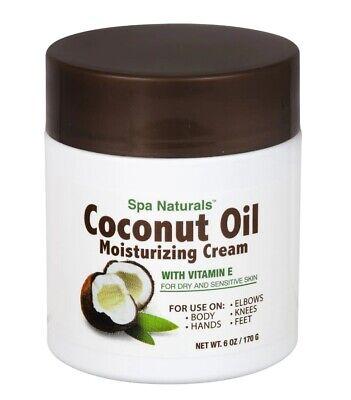 Coconut Oil Moisturizing Cream Vitamin E  Dry Sensitive Skin Spa Naturals  6 -