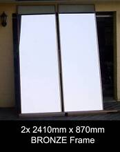 2x 2410 x 870 BRONZE Frame Wardrobe Mirror Sliding Doors + Tracks Penrith Penrith Area Preview