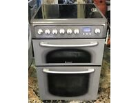 Hotpoint ceramic electric cooker silver 60 cm very good condition