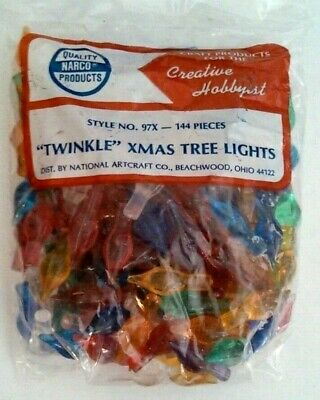 Star Twinkle Medium Lights Pegs Ceramic Christmas Tree Bulbs VINTAGE 144 Per Bag