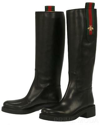 NEW GUCCI LADIES CURRENT BLACK LEATHER WEB BEE DETAIL BOOT SHOES 40/US 10