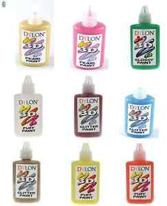 DYLON-3D-FABRIC-PAINT-GLOSSY-GLITTER-PUFF-OR-PEARL-25ml-20-COLOURS-AVAILABLE