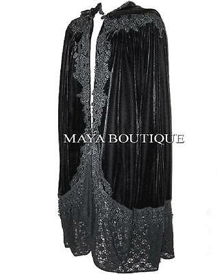 Cloak Opera Cape BLACK Victorian Rep Long Velvet & Lace Lined Maya Boutique