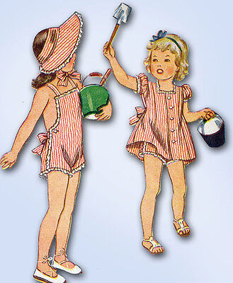 1940s Vintage Simplicity Sewing Pattern 4968 WWII Girls Sun Suit & Dress Size 6