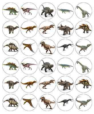 30x Dinosaurs Jurassic World Cupcake Toppers Edible Wafer Fairy Cake Toppers