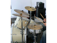 complete 4 piece drum kit, with cymbals, stands & cases