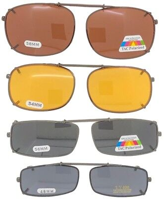 Clip On Sunglasses For Glasses Rectangle Sizes Yellow Drive Polarized Lenses - Yellow Sunglasses