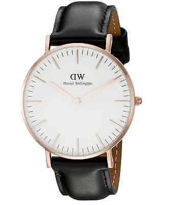 New Daniel Wellington Classic Sheffield 0508DW Black Leather 36mm Ladies Watch
