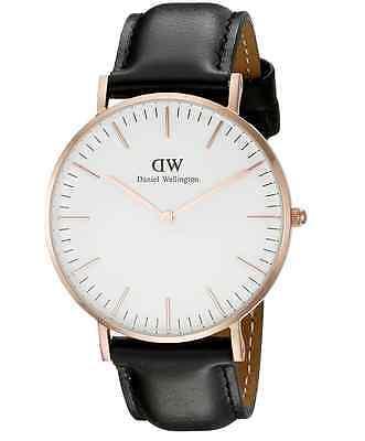 New Daniel Wellington Classic Sheffield 0508DW Black Leather 36mm Ladies Watch