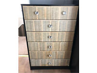 Shabby Chic Vintage Style Hand Made Chest of Draws Crystal Handles